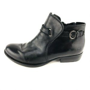 Born JEM Black Burnished Leather Ankle Boots